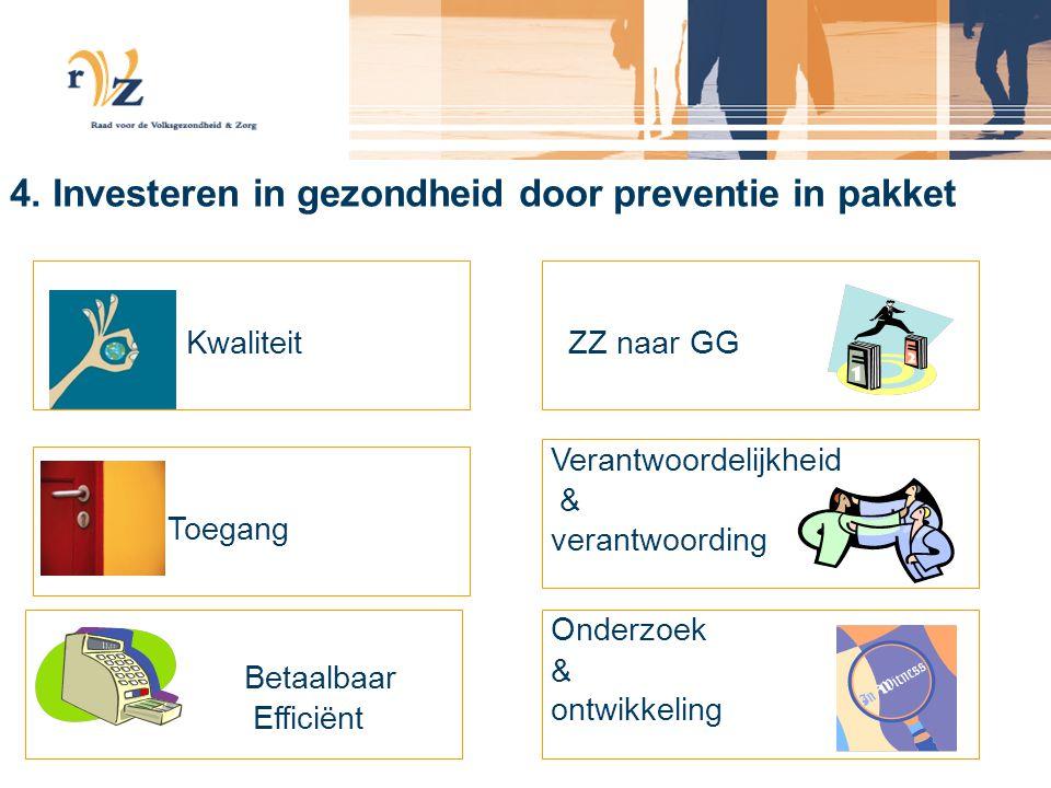 4. Investeren in gezondheid door preventie in pakket Kwaliteit Toegang Betaalbaar Efficiënt ZZ naar GG Verantwoordelijkheid & verantwoording Onderzoek