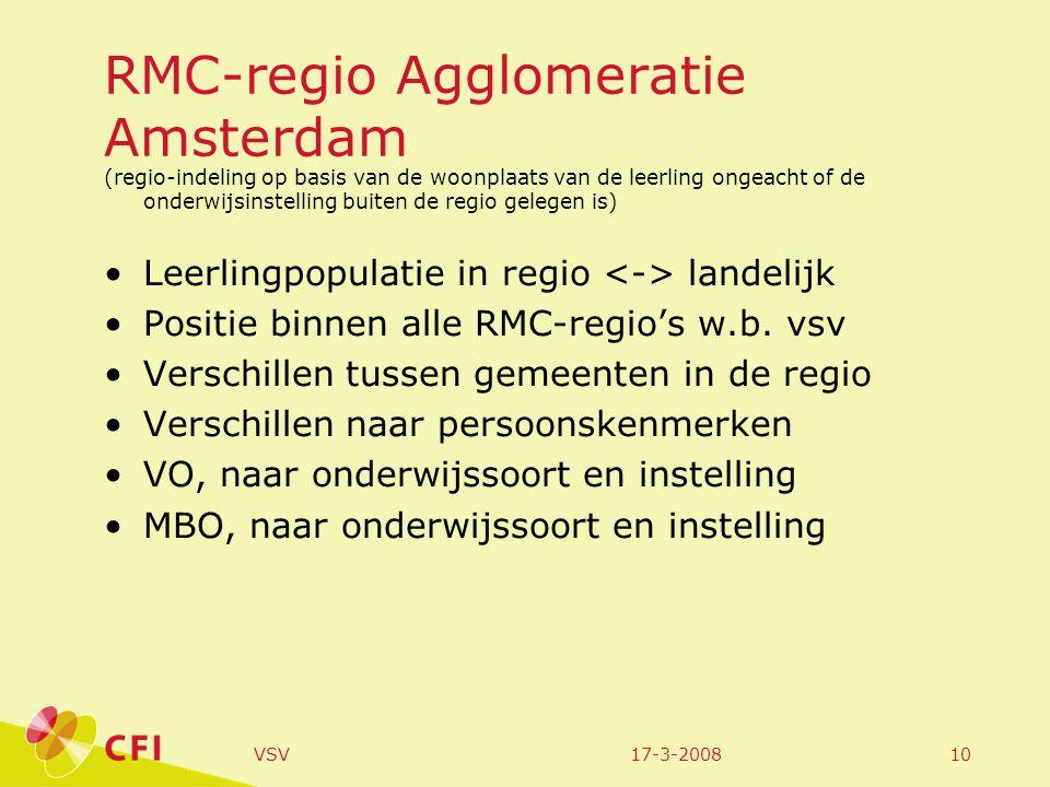 17-3-2008VSV10 RMC-regio Agglomeratie Amsterdam (regio-indeling op basis van de woonplaats van de leerling ongeacht of de onderwijsinstelling buiten de regio gelegen is) •Leerlingpopulatie in regio landelijk •Positie binnen alle RMC-regio's w.b.