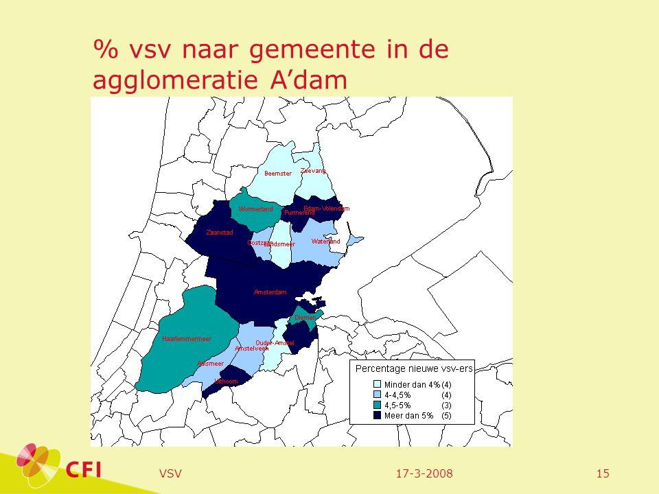 17-3-2008VSV15 % vsv naar gemeente in de agglomeratie A'dam