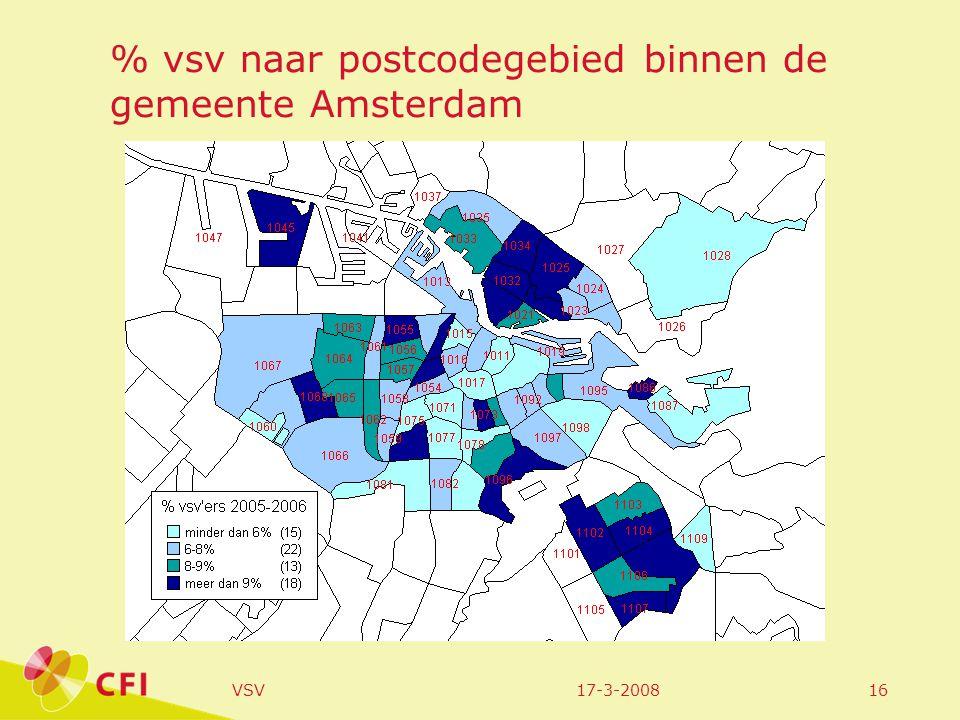 17-3-2008VSV16 % vsv naar postcodegebied binnen de gemeente Amsterdam