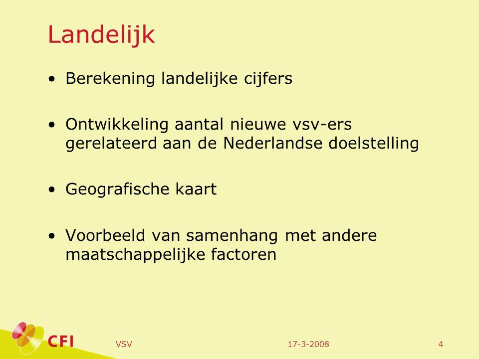 17-3-2008VSV4 Landelijk •Berekening landelijke cijfers •Ontwikkeling aantal nieuwe vsv-ers gerelateerd aan de Nederlandse doelstelling •Geografische kaart •Voorbeeld van samenhang met andere maatschappelijke factoren