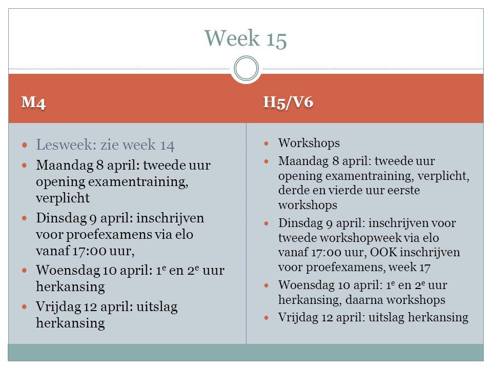 M4 H5/V6  Lesweek: zie week 14  Maandag 8 april: tweede uur opening examentraining, verplicht  Dinsdag 9 april: inschrijven voor proefexamens via e