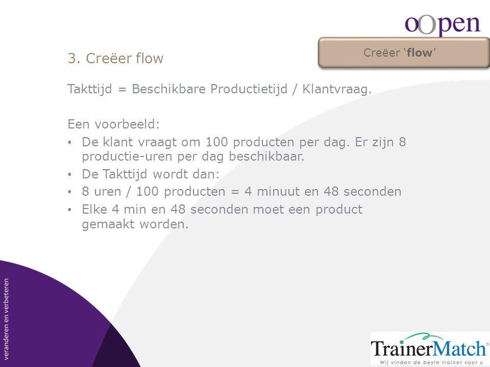 Takttijd = Beschikbare Productietijd / Klantvraag. Een voorbeeld: • De klant vraagt om 100 producten per dag. Er zijn 8 productie-uren per dag beschik