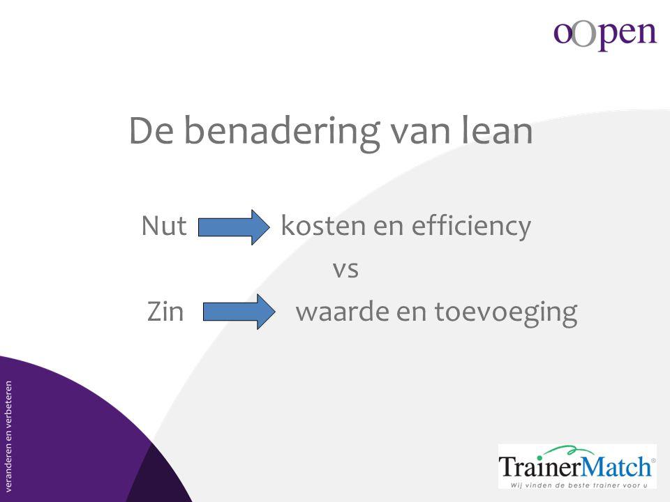 De benadering van lean Nut kosten en efficiency vs Zin waarde en toevoeging