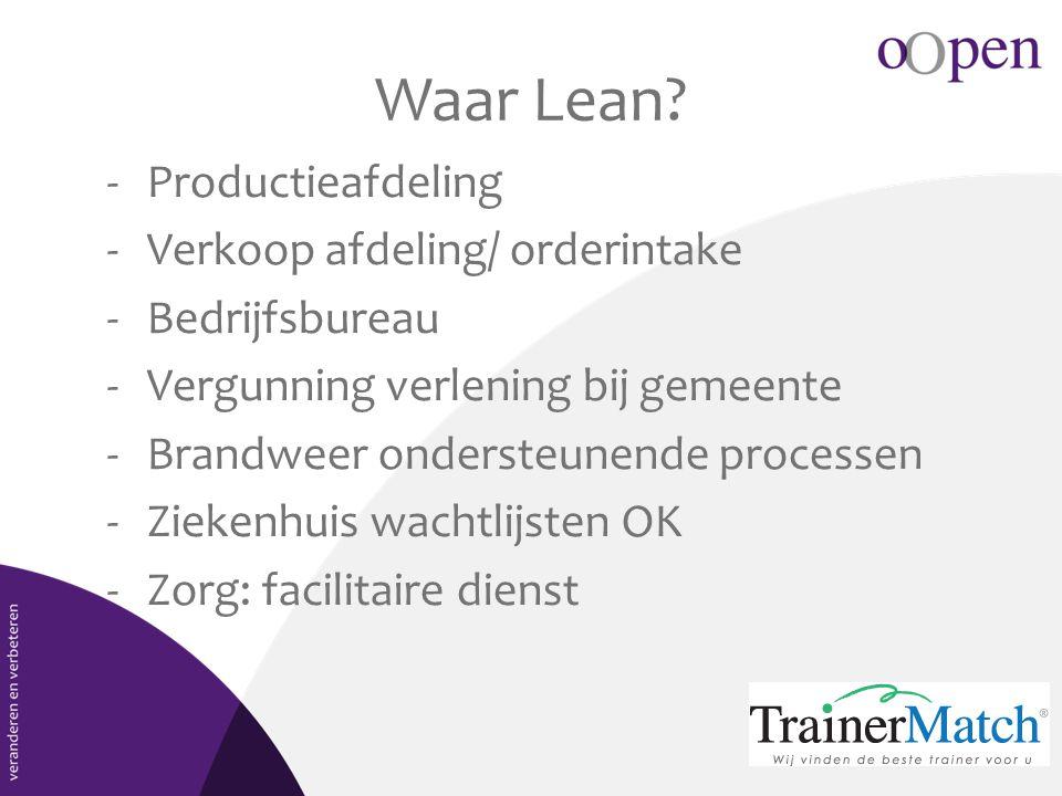 Waar Lean? -Productieafdeling -Verkoop afdeling/ orderintake -Bedrijfsbureau -Vergunning verlening bij gemeente -Brandweer ondersteunende processen -Z