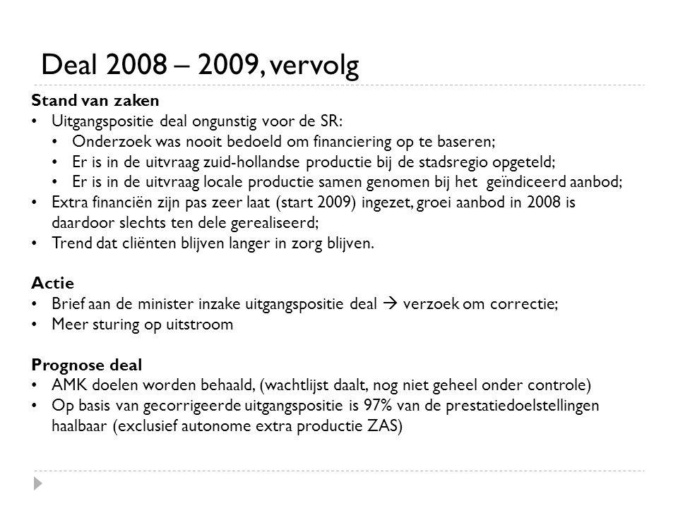 Deal 2008 – 2009, vervolg Stand van zaken •Uitgangspositie deal ongunstig voor de SR: •Onderzoek was nooit bedoeld om financiering op te baseren; •Er