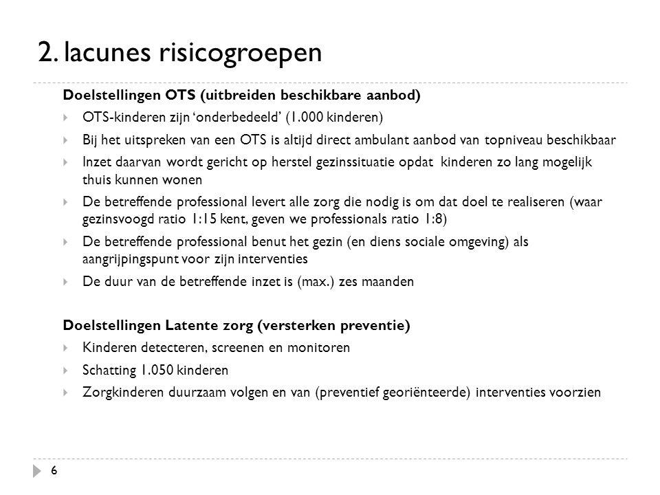 6 2. lacunes risicogroepen Doelstellingen OTS (uitbreiden beschikbare aanbod)  OTS-kinderen zijn 'onderbedeeld' (1.000 kinderen)  Bij het uitspreken
