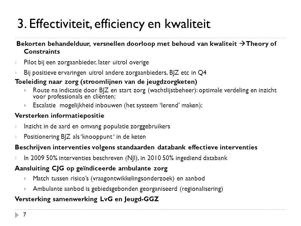7 3. Effectiviteit, efficiency en kwaliteit Bekorten behandelduur, versnellen doorloop met behoud van kwaliteit  Theory of Constraints  Pilot bij ee