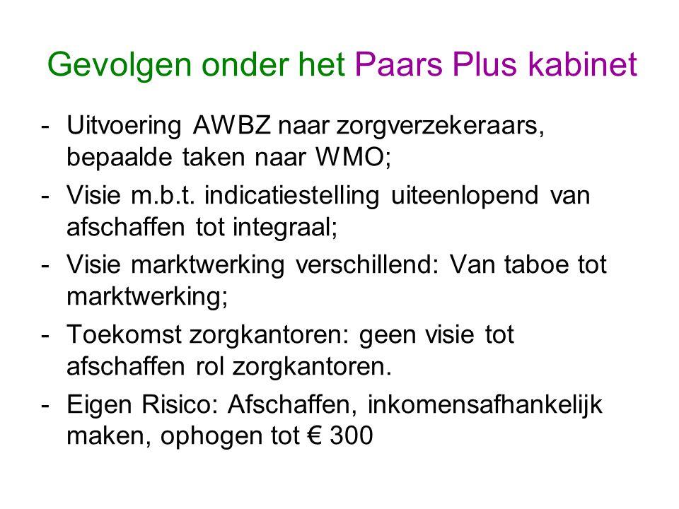 Gevolgen onder het Paars Plus kabinet -Uitvoering AWBZ naar zorgverzekeraars, bepaalde taken naar WMO; -Visie m.b.t.