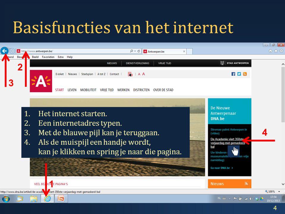 Basisfuncties van het internet 4 1.Het internet starten.