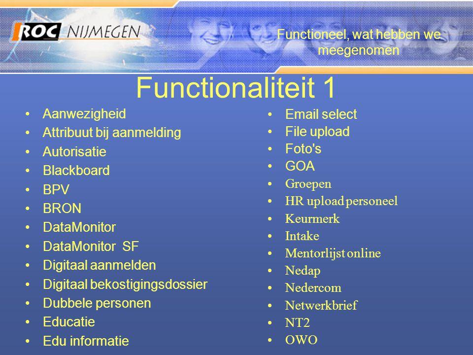 Functionaliteit 1 •Aanwezigheid •Attribuut bij aanmelding •Autorisatie •Blackboard •BPV •BRON •DataMonitor •DataMonitor SF •Digitaal aanmelden •Digita