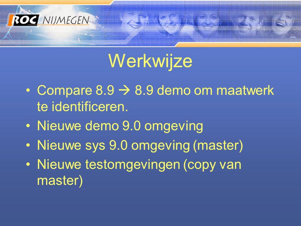 Werkwijze •Compare 8.9  8.9 demo om maatwerk te identificeren. •Nieuwe demo 9.0 omgeving •Nieuwe sys 9.0 omgeving (master) •Nieuwe testomgevingen (co