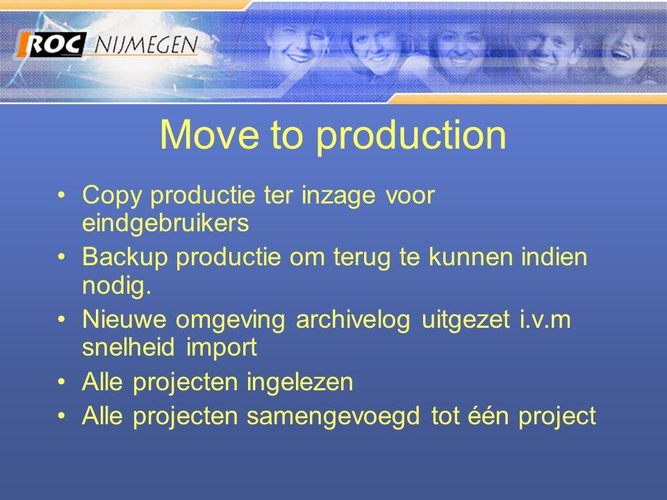 Move to production •Copy productie ter inzage voor eindgebruikers •Backup productie om terug te kunnen indien nodig. •Nieuwe omgeving archivelog uitge