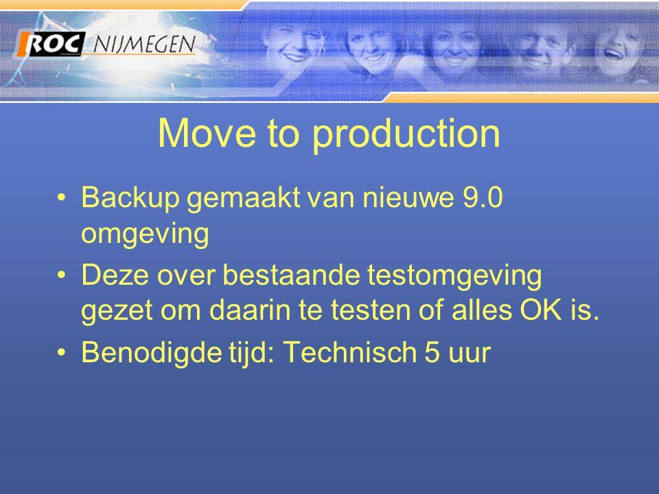 Move to production •Backup gemaakt van nieuwe 9.0 omgeving •Deze over bestaande testomgeving gezet om daarin te testen of alles OK is. •Benodigde tijd