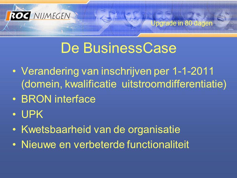 De BusinessCase •Verandering van inschrijven per 1-1-2011 (domein, kwalificatie uitstroomdifferentiatie) •BRON interface •UPK •Kwetsbaarheid van de or
