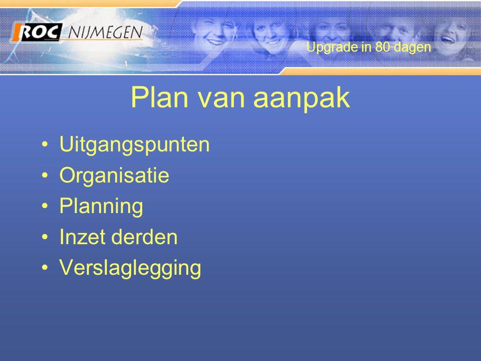 Plan van aanpak •Uitgangspunten •Organisatie •Planning •Inzet derden •Verslaglegging Upgrade in 80 dagen