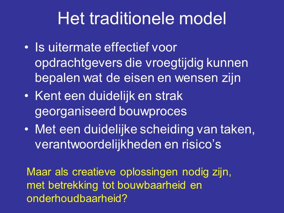 Het traditionele model •Is uitermate effectief voor opdrachtgevers die vroegtijdig kunnen bepalen wat de eisen en wensen zijn •Kent een duidelijk en s