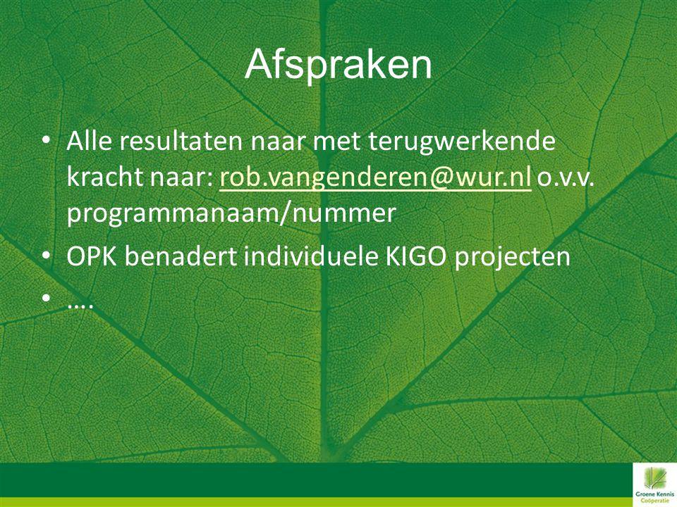 Afspraken • Alle resultaten naar met terugwerkende kracht naar: rob.vangenderen@wur.nl o.v.v. programmanaam/nummerrob.vangenderen@wur.nl • OPK benader