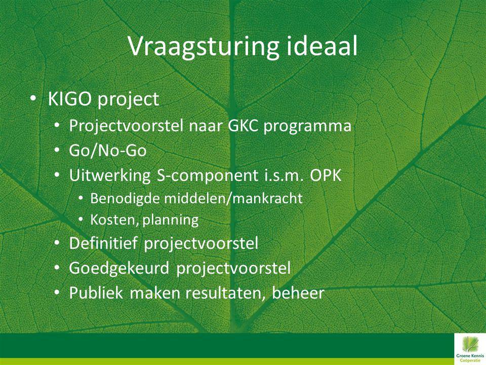 Vraagsturing ideaal • KIGO project • Projectvoorstel naar GKC programma • Go/No-Go • Uitwerking S-component i.s.m. OPK • Benodigde middelen/mankracht