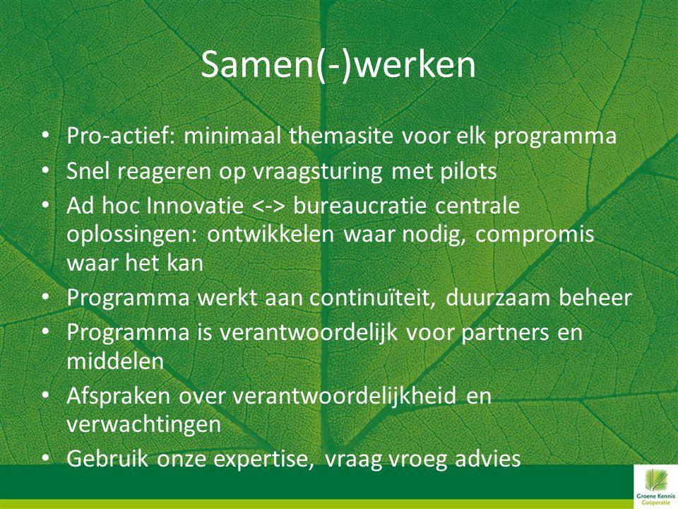 Samen(-)werken • Pro-actief: minimaal themasite voor elk programma • Snel reageren op vraagsturing met pilots • Ad hoc Innovatie bureaucratie centrale