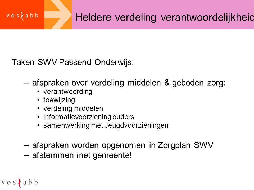 Heldere verdeling verantwoordelijkheid Taken SWV Passend Onderwijs: –afspraken over verdeling middelen & geboden zorg: •verantwoording •toewijzing •ve