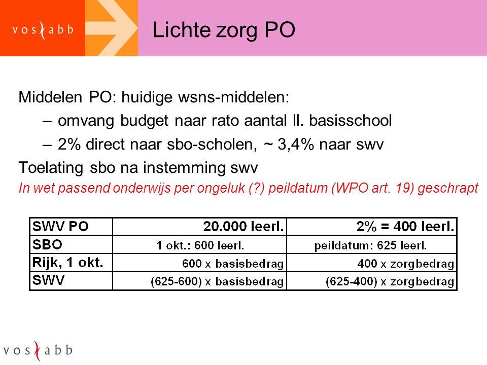 Lichte zorg PO Middelen PO: huidige wsns-middelen: –omvang budget naar rato aantal ll. basisschool –2% direct naar sbo-scholen, ~ 3,4% naar swv Toelat
