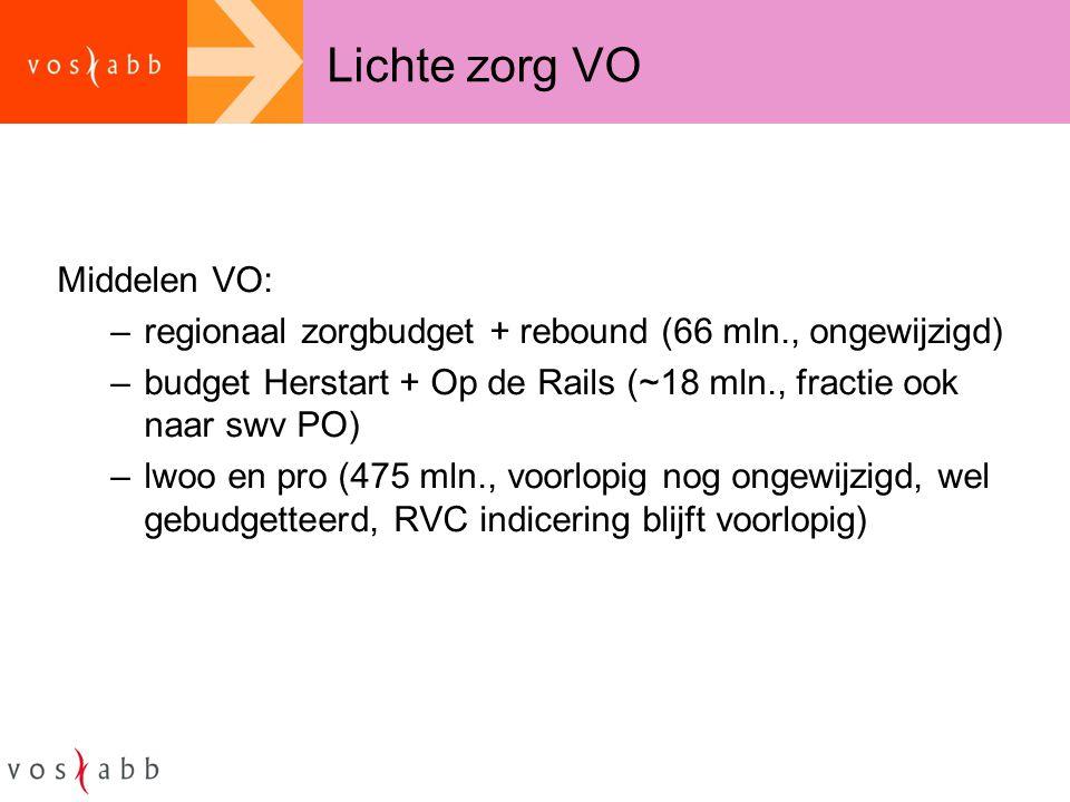 Lichte zorg VO Middelen VO: –regionaal zorgbudget + rebound (66 mln., ongewijzigd) –budget Herstart + Op de Rails (~18 mln., fractie ook naar swv PO)