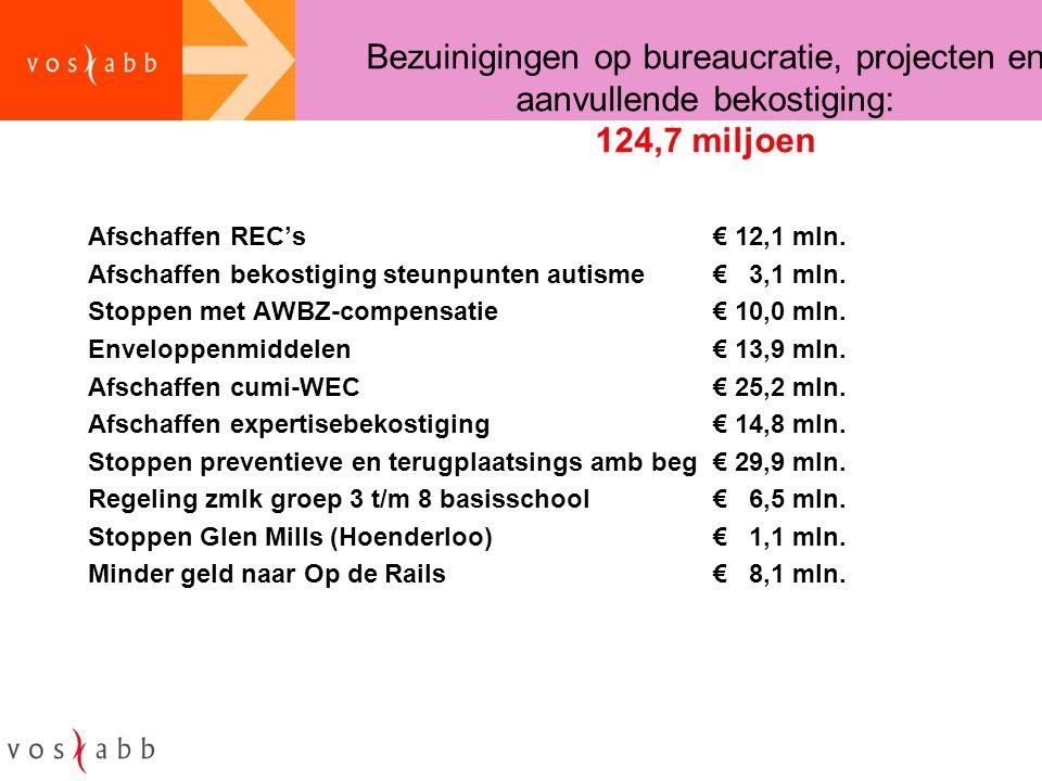 Bezuinigingen op bureaucratie, projecten en aanvullende bekostiging: 124,7 miljoen Afschaffen REC's€ 12,1 mln. Afschaffen bekostiging steunpunten auti