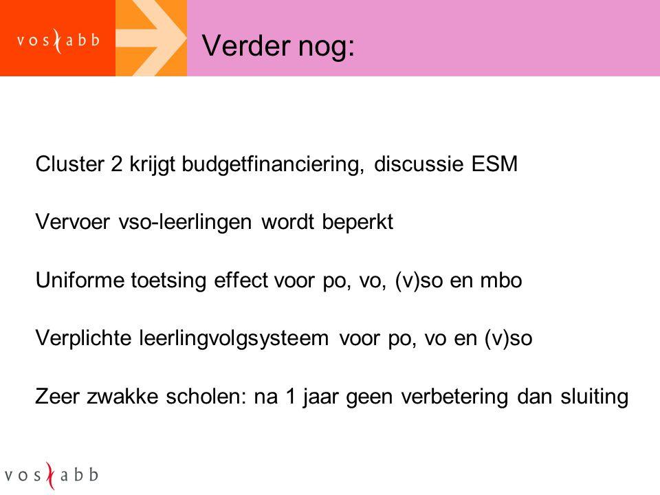 Verder nog: Cluster 2 krijgt budgetfinanciering, discussie ESM Vervoer vso-leerlingen wordt beperkt Uniforme toetsing effect voor po, vo, (v)so en mbo