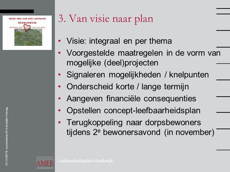 18-10-2007 © AmerAdviseurs BV, Ruimtelijke Ordening, Leefbaarheidsplan Schalkwijk 3. Van visie naar plan •Visie: integraal en per thema •Voorgestelde