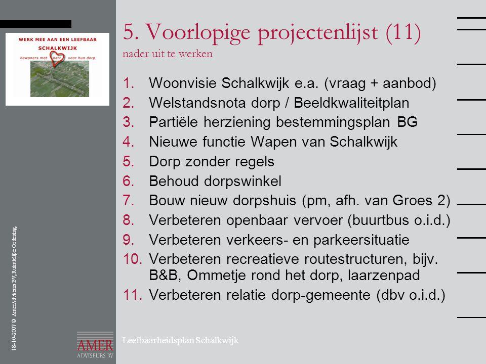 18-10-2007 © AmerAdviseurs BV, Ruimtelijke Ordening, Leefbaarheidsplan Schalkwijk 5. Voorlopige projectenlijst (11) nader uit te werken 1.Woonvisie Sc