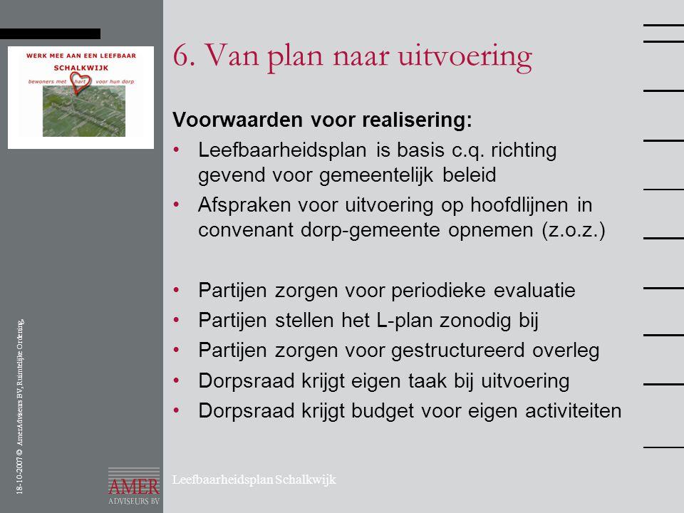 18-10-2007 © AmerAdviseurs BV, Ruimtelijke Ordening, Leefbaarheidsplan Schalkwijk 6. Van plan naar uitvoering Voorwaarden voor realisering: •Leefbaarh