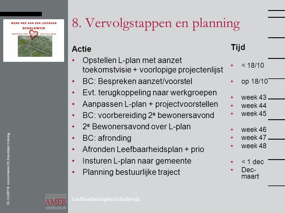 18-10-2007 © AmerAdviseurs BV, Ruimtelijke Ordening, Leefbaarheidsplan Schalkwijk 8. Vervolgstappen en planning Actie •Opstellen L-plan met aanzet toe