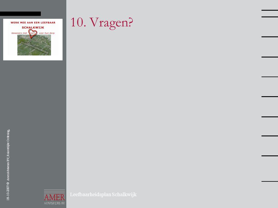 18-10-2007 © AmerAdviseurs BV, Ruimtelijke Ordening, Leefbaarheidsplan Schalkwijk 10. Vragen?