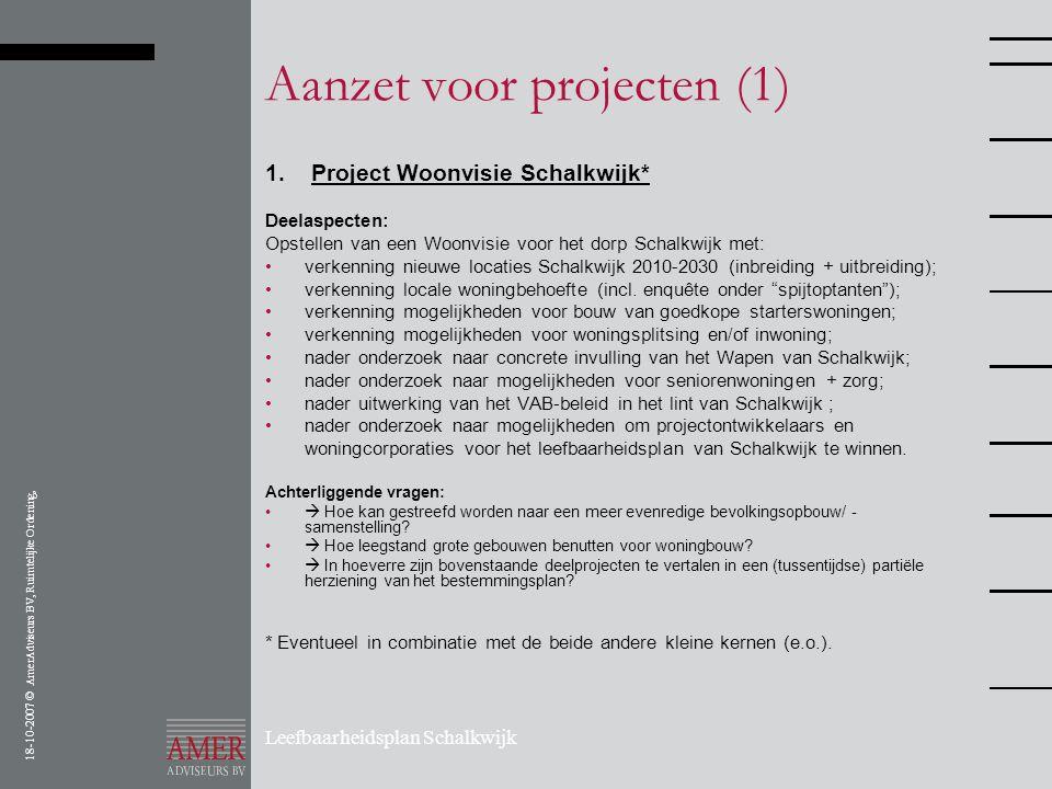 18-10-2007 © AmerAdviseurs BV, Ruimtelijke Ordening, Leefbaarheidsplan Schalkwijk Aanzet voor projecten (1) 1. Project Woonvisie Schalkwijk* Deelaspec
