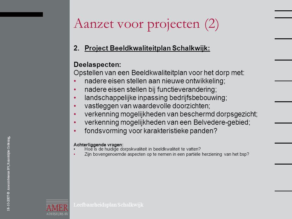 18-10-2007 © AmerAdviseurs BV, Ruimtelijke Ordening, Leefbaarheidsplan Schalkwijk Aanzet voor projecten (2) 2. Project Beeldkwaliteitplan Schalkwijk: