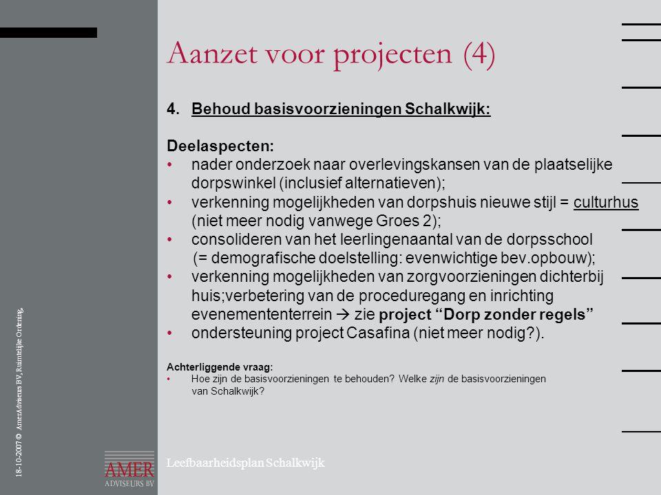 18-10-2007 © AmerAdviseurs BV, Ruimtelijke Ordening, Leefbaarheidsplan Schalkwijk Aanzet voor projecten (4) 4.Behoud basisvoorzieningen Schalkwijk: De