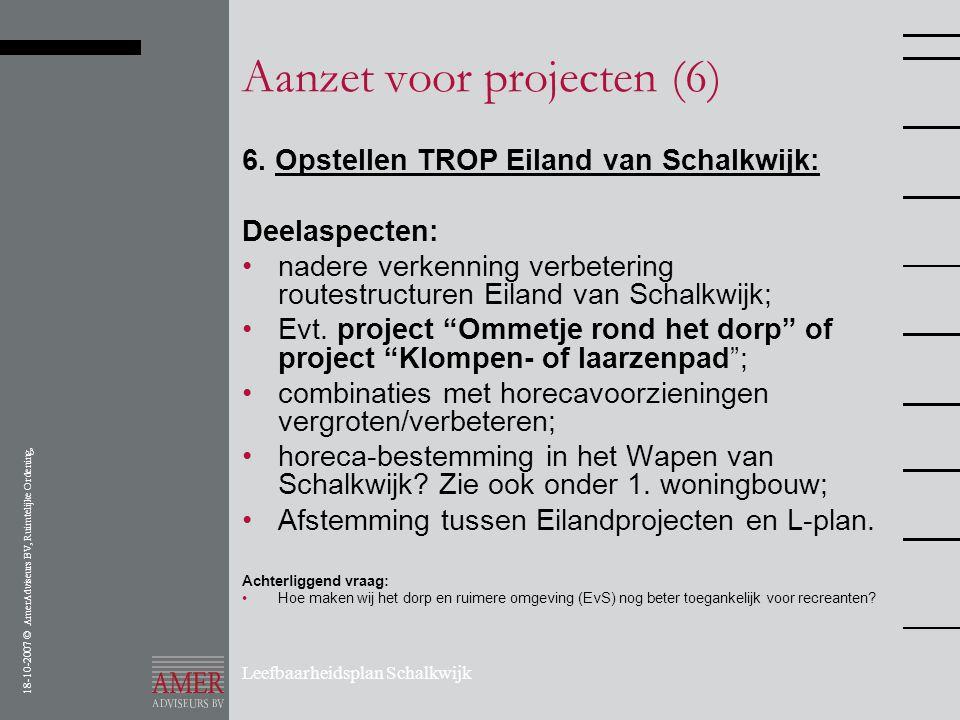 18-10-2007 © AmerAdviseurs BV, Ruimtelijke Ordening, Leefbaarheidsplan Schalkwijk Aanzet voor projecten (6) 6. Opstellen TROP Eiland van Schalkwijk: D