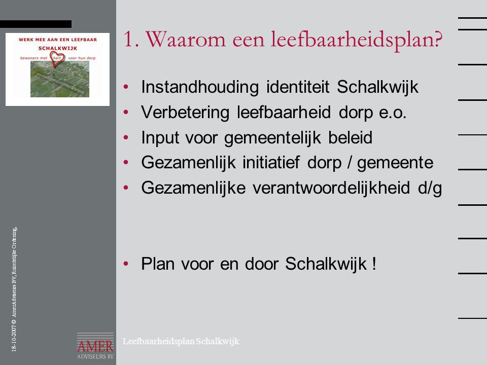 18-10-2007 © AmerAdviseurs BV, Ruimtelijke Ordening, Leefbaarheidsplan Schalkwijk 1. Waarom een leefbaarheidsplan? •Instandhouding identiteit Schalkwi