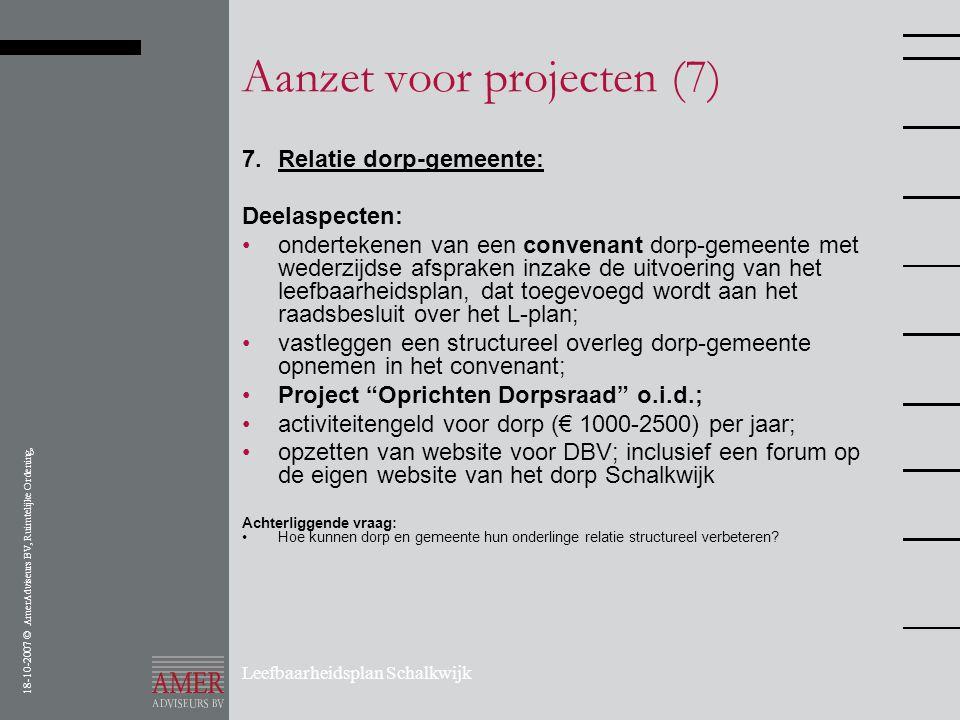 18-10-2007 © AmerAdviseurs BV, Ruimtelijke Ordening, Leefbaarheidsplan Schalkwijk Aanzet voor projecten (7) 7.Relatie dorp-gemeente: Deelaspecten: •on