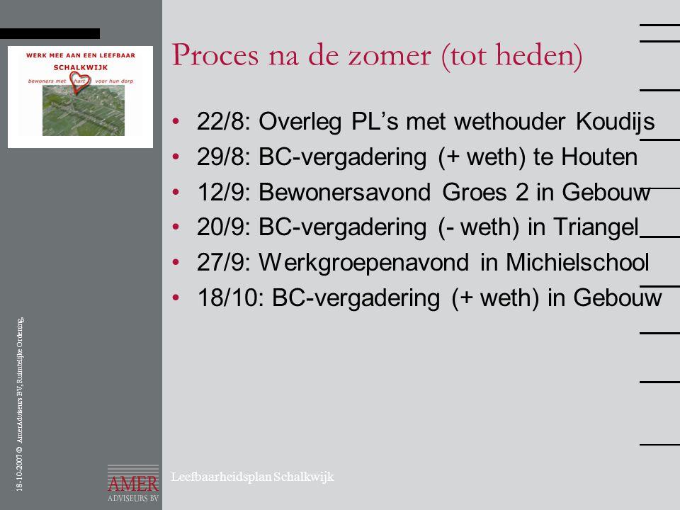 18-10-2007 © AmerAdviseurs BV, Ruimtelijke Ordening, Leefbaarheidsplan Schalkwijk Proces na de zomer (tot heden) •22/8: Overleg PL's met wethouder Kou