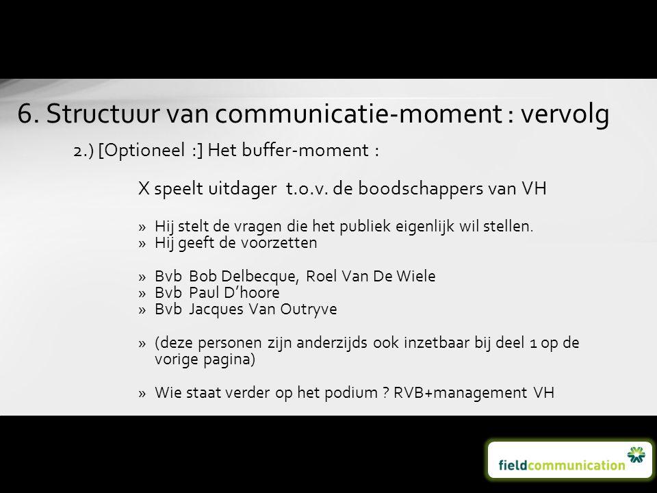 2.) [Optioneel :] Het buffer-moment : X speelt uitdager t.o.v. de boodschappers van VH »Hij stelt de vragen die het publiek eigenlijk wil stellen. »Hi