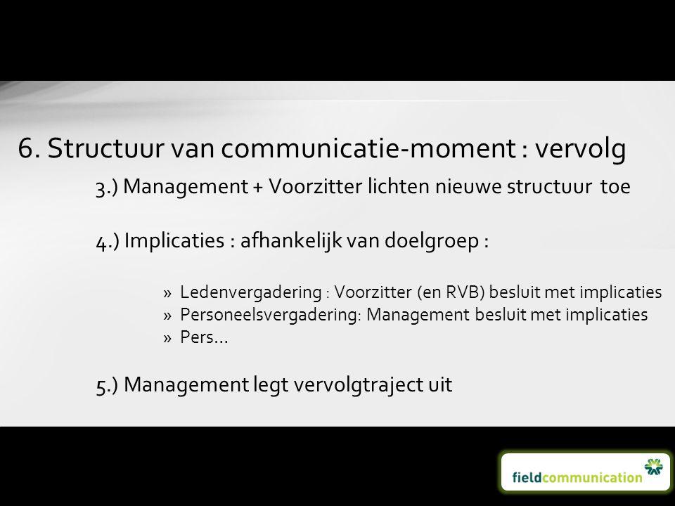 3.) Management + Voorzitter lichten nieuwe structuur toe 4.) Implicaties : afhankelijk van doelgroep : »Ledenvergadering : Voorzitter (en RVB) besluit