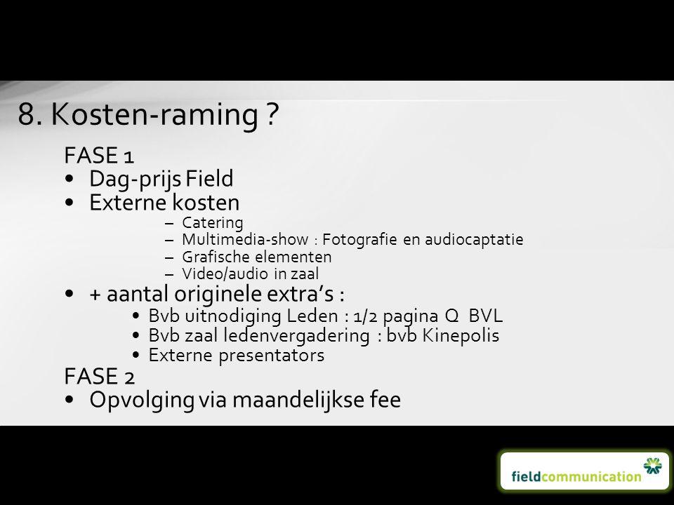 FASE 1 •Dag-prijs Field •Externe kosten –Catering –Multimedia-show : Fotografie en audiocaptatie –Grafische elementen –Video/audio in zaal •+ aantal o