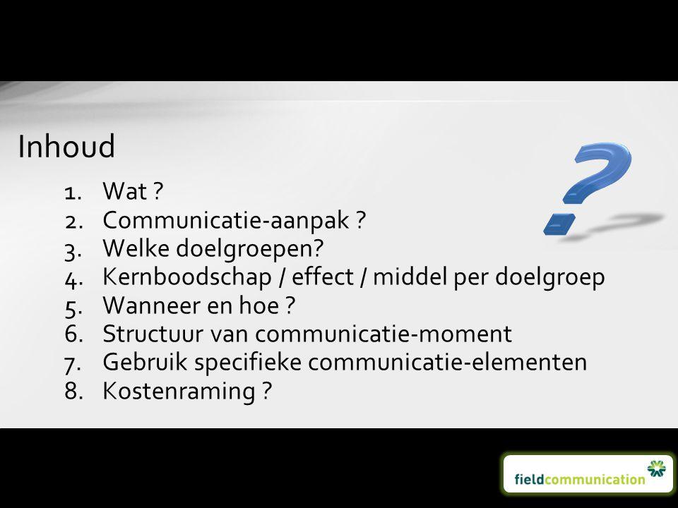 1.Wat ? 2.Communicatie-aanpak ? 3.Welke doelgroepen? 4.Kernboodschap / effect / middel per doelgroep 5.Wanneer en hoe ? 6.Structuur van communicatie-m