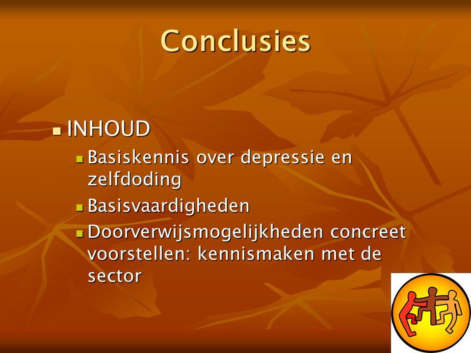 Conclusies  INHOUD  Basiskennis over depressie en zelfdoding  Basisvaardigheden  Doorverwijsmogelijkheden concreet voorstellen: kennismaken met de