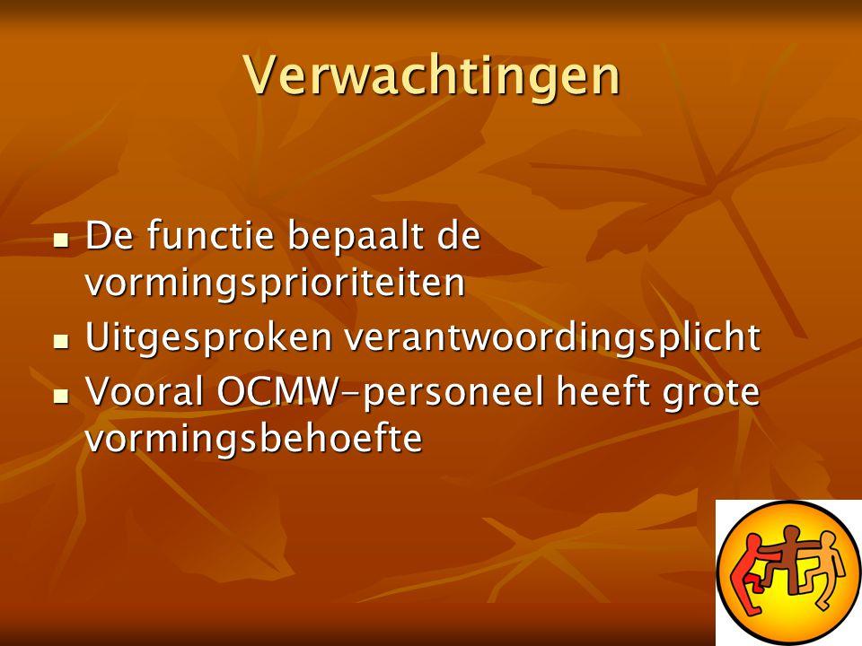 Verwachtingen  De functie bepaalt de vormingsprioriteiten  Uitgesproken verantwoordingsplicht  Vooral OCMW-personeel heeft grote vormingsbehoefte