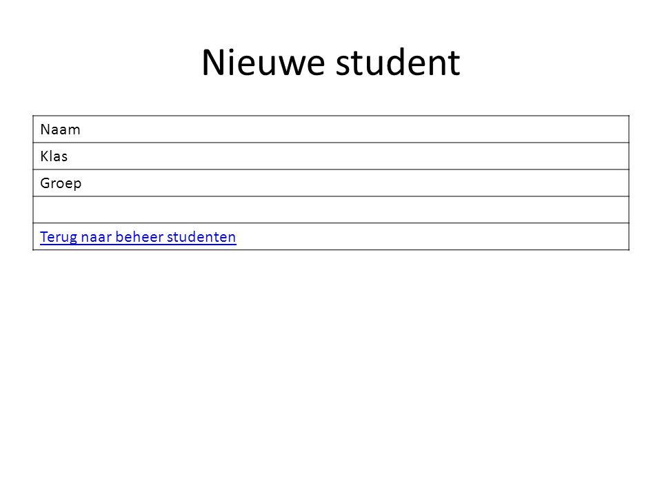 Naam Klas Groep Terug naar beheer studenten