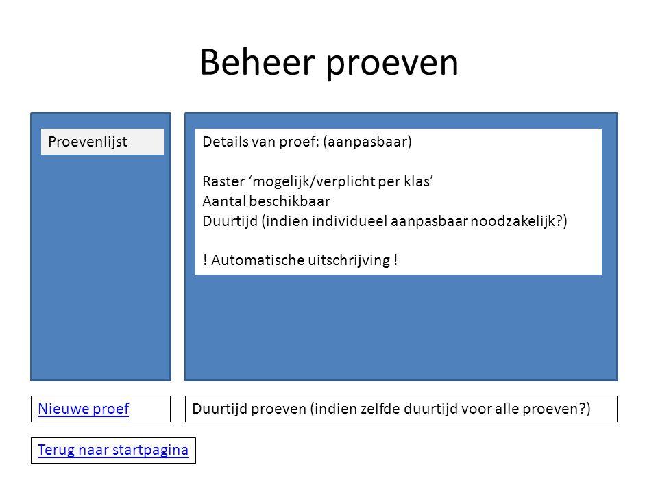 Beheer proeven ProevenlijstDetails van proef: (aanpasbaar) Raster 'mogelijk/verplicht per klas' Aantal beschikbaar Duurtijd (indien individueel aanpasbaar noodzakelijk ) .