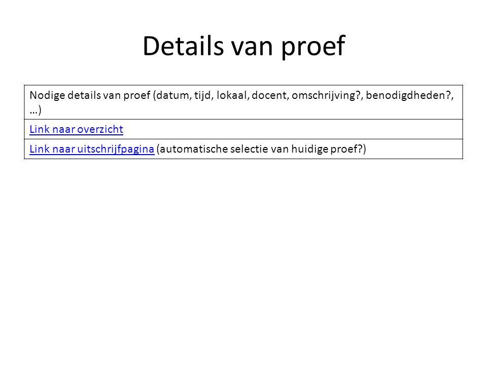 Nieuwe proef Naam proef Mogelijk/verplicht per klas Aantal beschikbaar Terug naar beheer proevenbeheer proeven